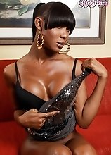 The sexy fashionista Kayla Biggs is a hot black tgirl who has tons of style. She has a great body, nice tits, long legs and a big cock.
