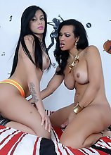 Johany and Bruna are two stunning Latin tgirls with amazing curvy bodies, big boobs, great asses and a rock hard cocks! Watch these two transsexuals a