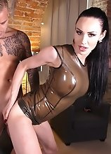 Kimberlee's ultimate fantasy is getting fucked in a casting couch while wearing tight latex