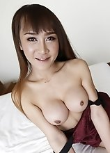 21yo busty Thai ladyboy is so horny for cock that she jerks her own cock while sucking his
