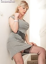 Joanna Jet - Dogtooth Dress, Nylons and Heels