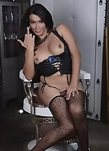 Super hot Vaniity posing in stockings