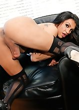 essy Dubai is a gorgeous transgirl with a smoking hot body, big boobs, a juicy round ass and a big hard uncut cock! Watch this sexy Grooby girl as she